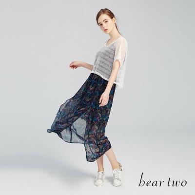 beartwo 異國波西米亞孔雀印花兩件式長洋裝(黑色)-動態show