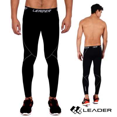 LEADER X-PRO梯度壓縮運動緊身褲男款黑底灰線