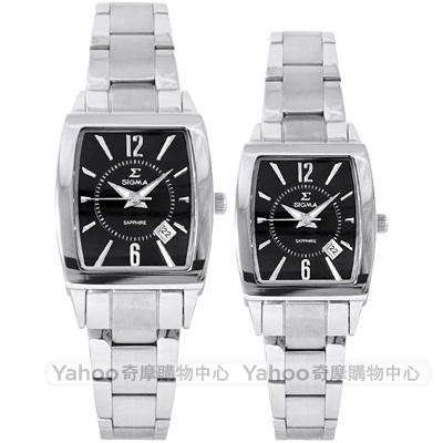 SIGMA 質感簡約時尚方錶對錶-黑X銀/24/33mm