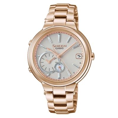SHEEN 優雅智慧藍芽傳輸太陽能日曆腕錶(SHB-200CG-9A)-金色/35mm