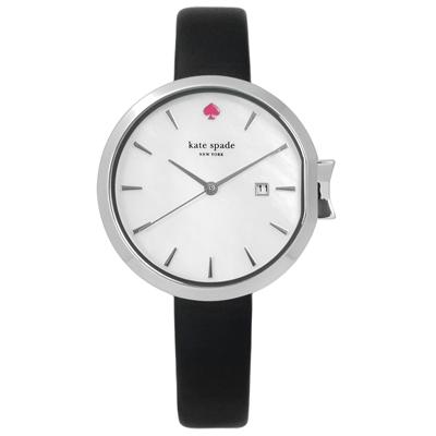 kate spade 歐美蝴蝶結珍珠母貝真皮手錶-白x黑/34mm