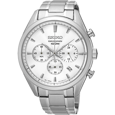 SEIKO CS系列都會計時腕錶(SSB221P1)-銀/42mm