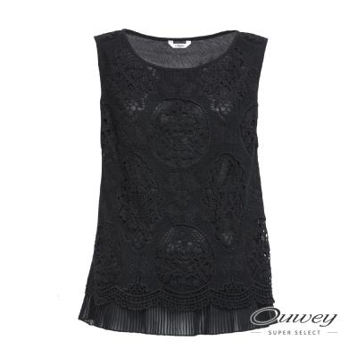 OUWEY歐薇 率性質感水融蕾絲上衣(黑)