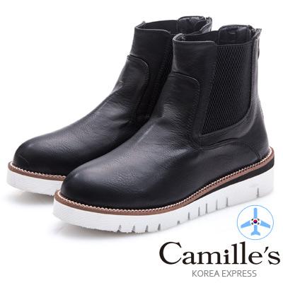 Camille's 韓國空運-正韓製-拼接鬆緊後跟拉鍊短靴-黑色