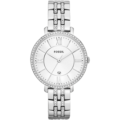 FOSSIL 羅馬風尚仕女晶鑽薄型腕錶-銀/36mm
