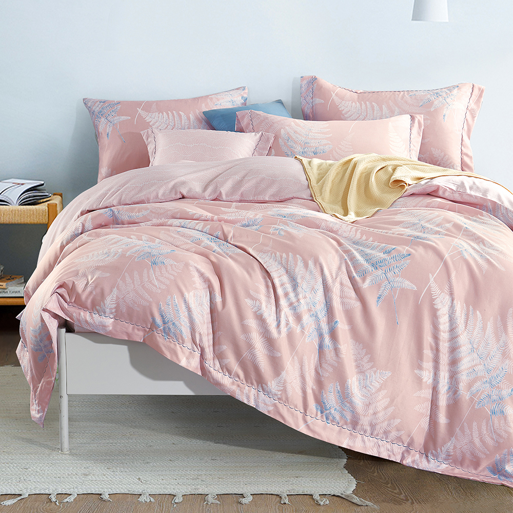 Ania Casa 飛揚-粉 涼感天絲 採用3M吸溼排汗專利 加大鋪棉兩用被床包組