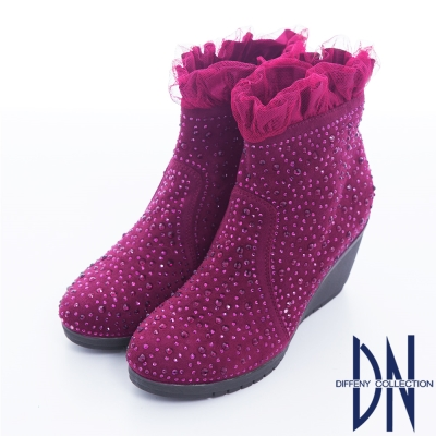 DN 精緻品味 全真皮閃鑽花邊綴飾厚底短靴 紫