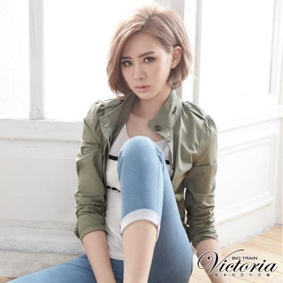 Victoria 棉休閒水洗外套-女-淺綠