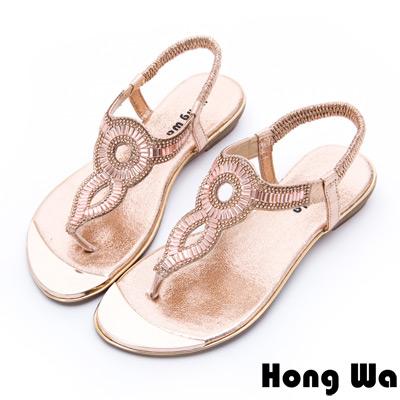 Hong Wa - 埃及風時尚3D水鑽飾釦休閒涼鞋 - 金