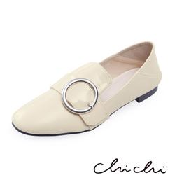 Chichi 韓國直送- 漆皮圓扣踩腳懶人鞋*米色