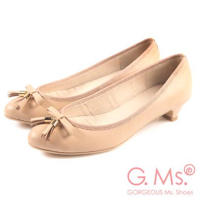 G.Ms. MIT系列-牛皮流蘇蝴蝶結小尖頭低跟鞋-粉蠟橘