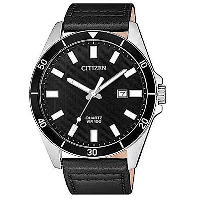 CITIZEN星辰 恢宏大度皮帶石英男錶(BI5050-03E)-黑/42mm