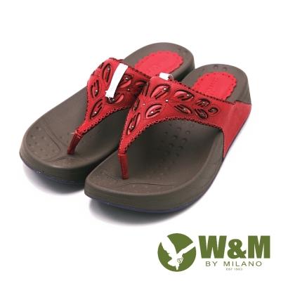 W&M 素色雕花厚底夾腳拖鞋 女鞋-桃(另有杏、深藍)
