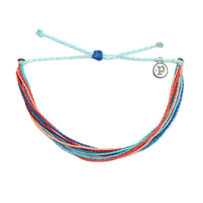 Pura Vida 美國衝浪品牌 RIPTIDE 粉橘水藍色手鍊