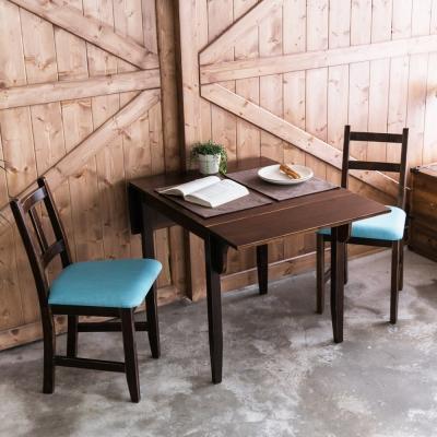 CiS自然行-雙邊延伸實木餐桌椅組一桌二椅74x122公分焦糖+藍椅墊