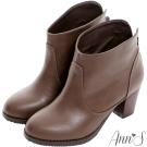 Ann'S顯瘦百搭素面後V口粗跟踝靴-咖
