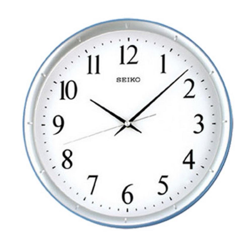 SEIKO 精工水藍邊框 恆動式秒針 靜音掛鐘-31cm