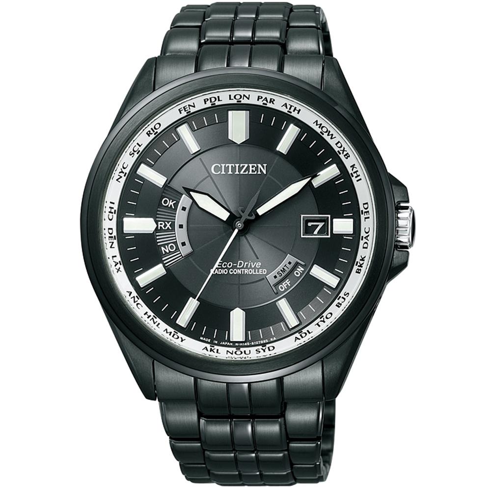 CITIZEN 光動能世界時間萬年曆防磁電波錶(CB0014-52E)-黑/43mm