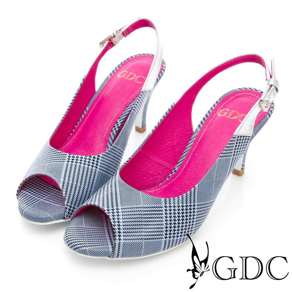 GDC-春夏真皮氣質格紋魚口鞋-藍色