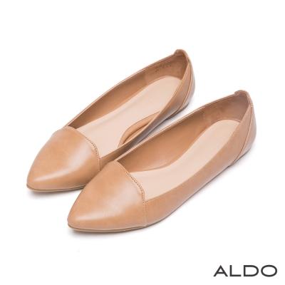 ALDO-文青復古風原色幾何線條車線尖頭鞋-氣質駝