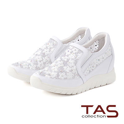 TAS 透膚小花蕾絲混搭水鑽內增高休閒鞋-氣質白