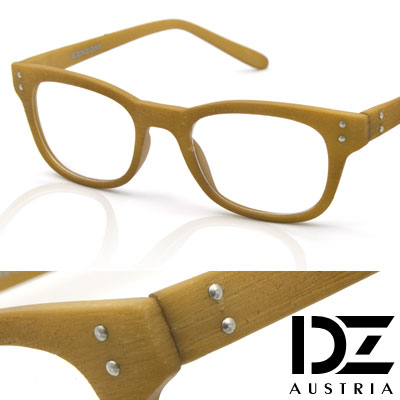 DZ-雙釘立體仿木紋-平光眼鏡-黃褐