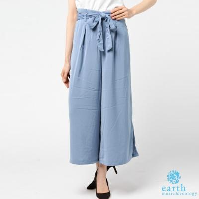 earth music  俐落側開衩腰綁帶寬褲