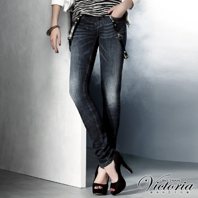 Victoria V字彩鑽低腰窄直筒褲-女-中深藍
