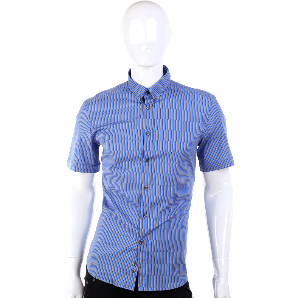 VERSACE 藍色條紋設計短袖襯衫