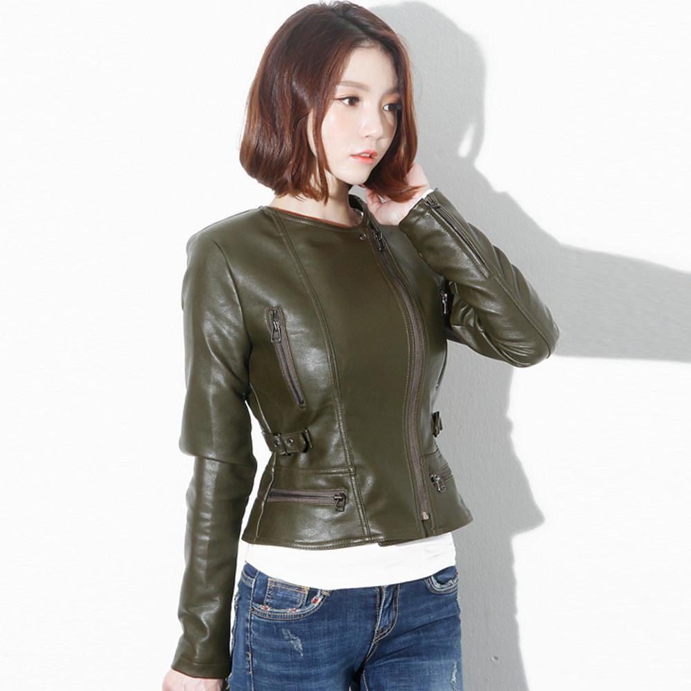 正韓 層次翻領騎士皮衣外套 (共二色)-Chic Girl