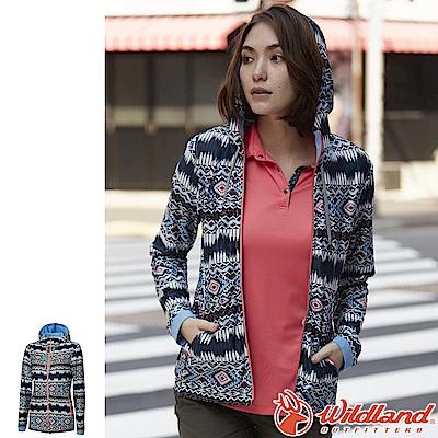 Wildland 荒野 0A61657-72深藍色 女彈性針織功能印花外套