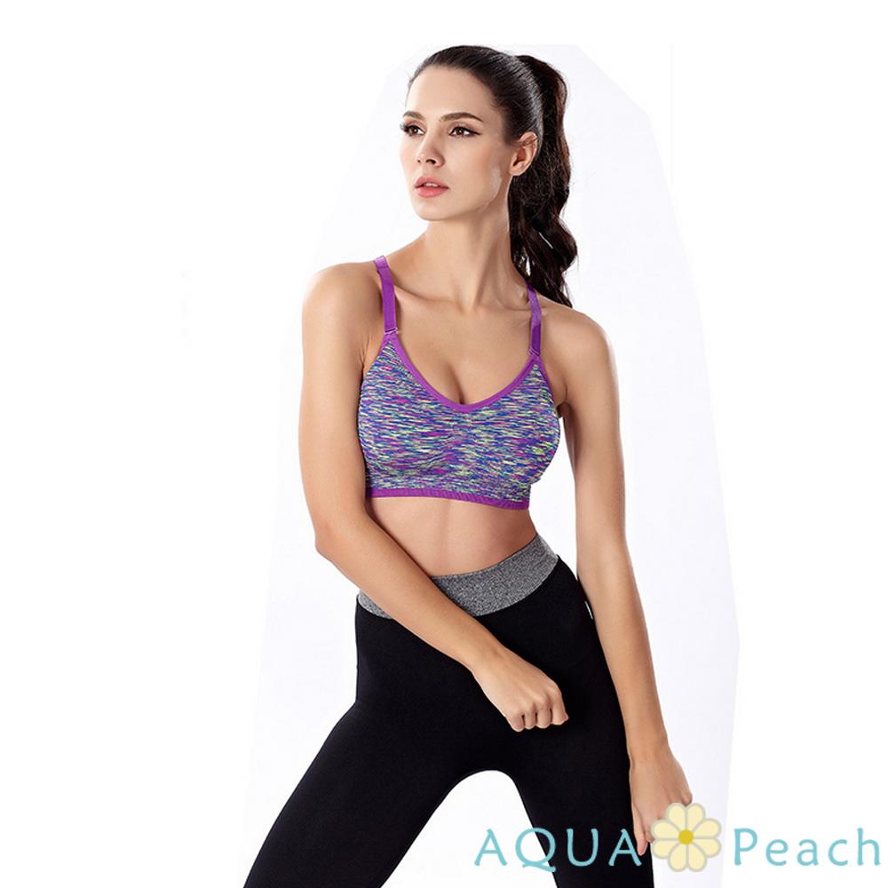 運動內衣 混色系挖背式可調肩帶運動背心 (紫色)-AQUA Peach