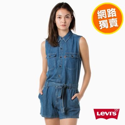 Levis 牛仔短褲 女款 連身短褲 橘標-動態show