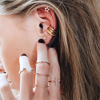 ASTRID&MIYU英國潮流品牌 開口水鑽H型可調節戒指 玫瑰金