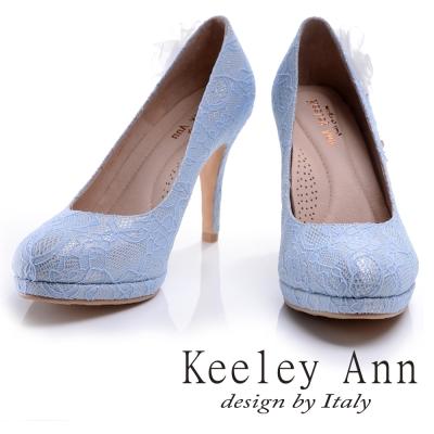 Keeley Ann蕾絲浪漫~珍珠花甜蜜小鑽真皮軟墊新娘高跟鞋(藍色)