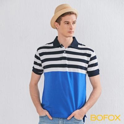 BOFOX 海軍風條紋拼接POLO衫