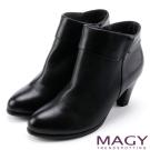 MAGY 紐約時尚步調 復古造型真皮粗跟踝靴-黑色