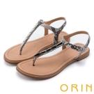 ORIN 夏日時尚風 金屬飾釦T字牛皮夾腳涼鞋-米蛇紋