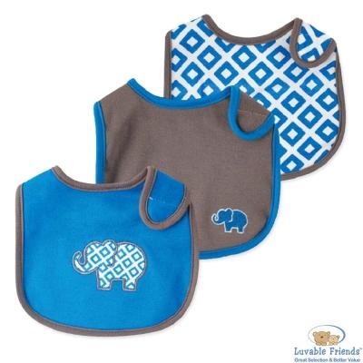 Luvable Friends 藍灰大象方塊圍兜口水巾3件組