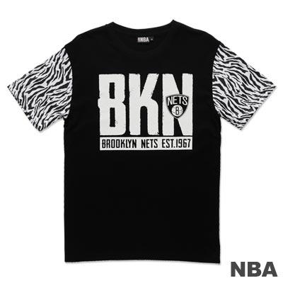 NBA-布魯克林籃網隊斑紋拼接短袖T恤-黑白(男)
