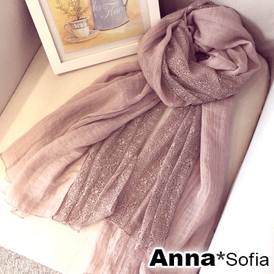 AnnaSofia 蕾絲拼接 柔軟混棉披肩圍巾(藕粉系)
