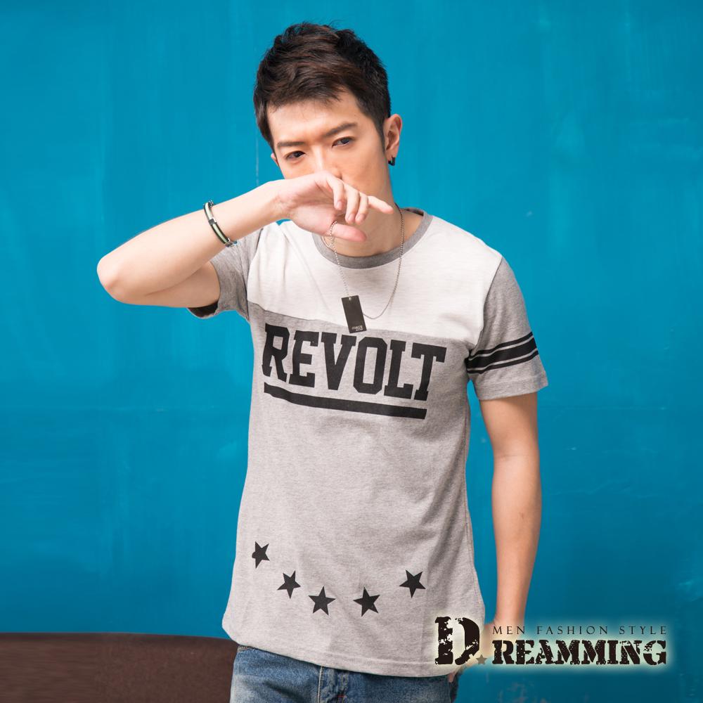 Dreamming 韓系街頭潮流STAR圓領短T-共二色 (灰色)