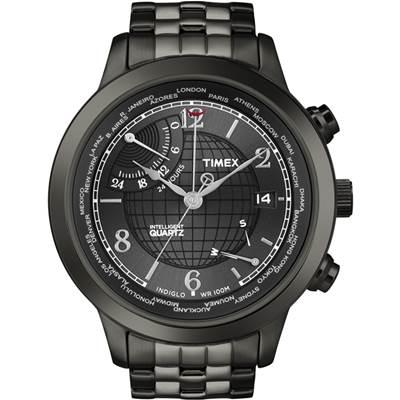 TIMEX Intelligent 經典六針逆跳地球經緯紋腕錶-黑/44mm