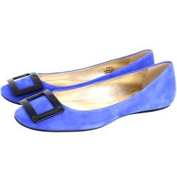 Roger Vivier Gommette 經典方框麂皮娃娃鞋(藍色)