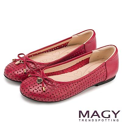MAGY 甜美新風貌 穿孔牛皮平底娃娃鞋-紅色