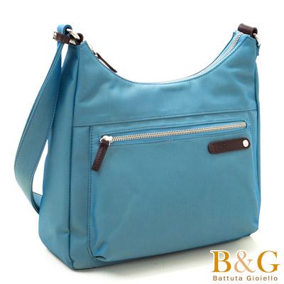 B&G輕時尚悠閒寬底斜肩背包(蔚海藍)