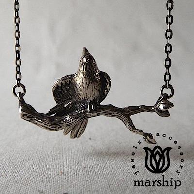 Marship 日本銀飾品牌 鸚鵡項鍊 伸展右腳款 925純銀 古董銀款