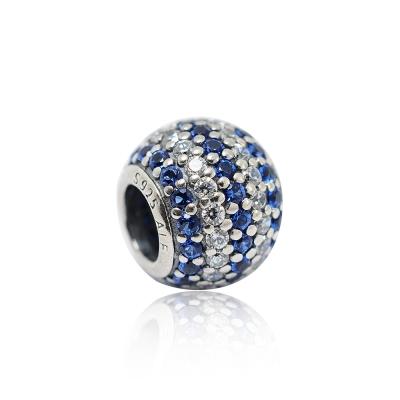Pandora 潘朵拉 圓形藍白亮鑽 純銀墜飾 串珠