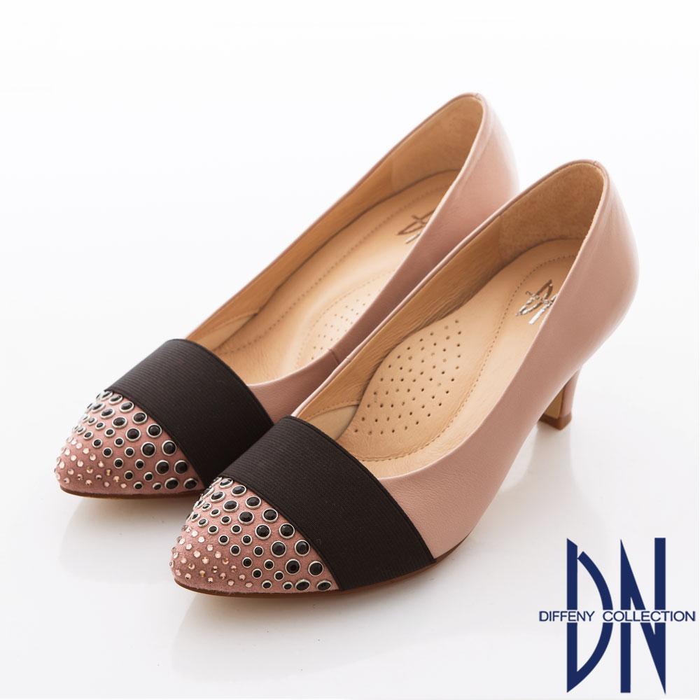 DN 挑戰時尚 MIT質感風潮寬條點鑽高跟鞋 藕粉