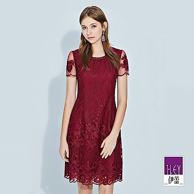 ILEY伊蕾 花草縷空刺繡圓領洋裝(紅)